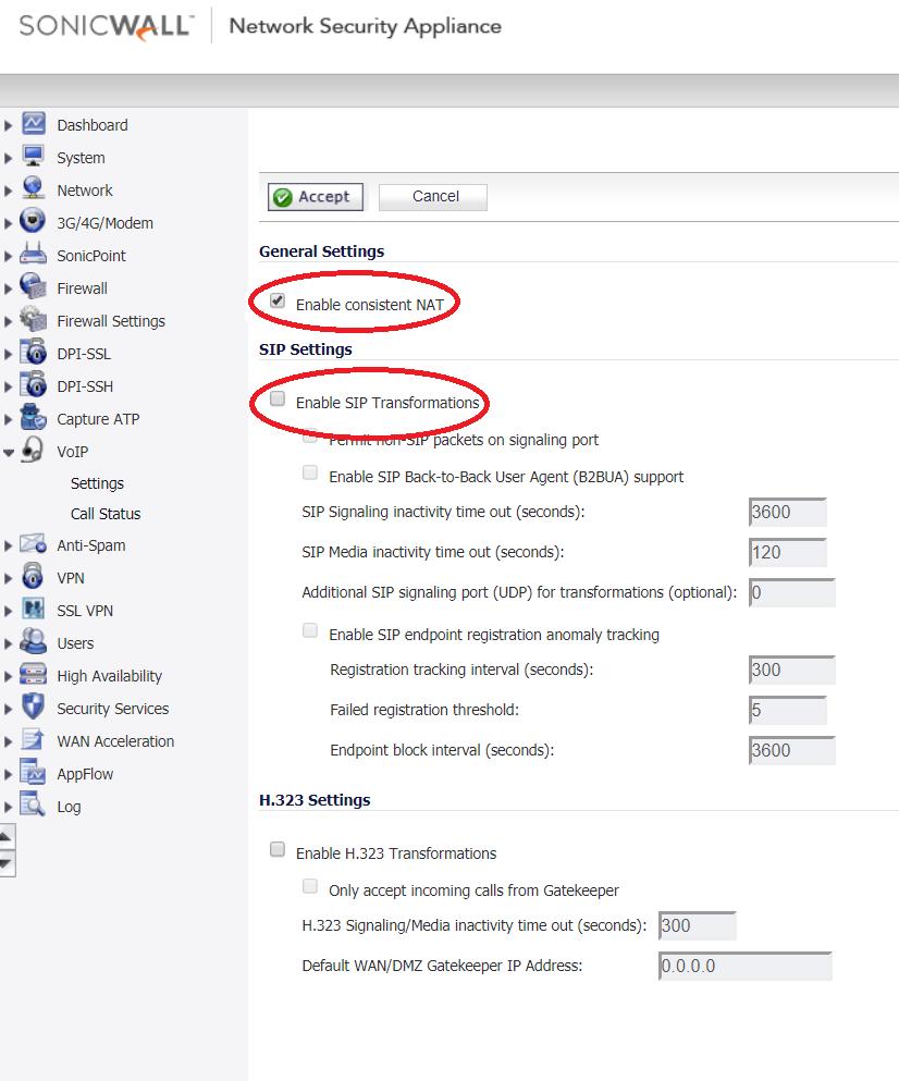 Eir/Vodafone/Sonicwall settings for NUACOM VoIP Service